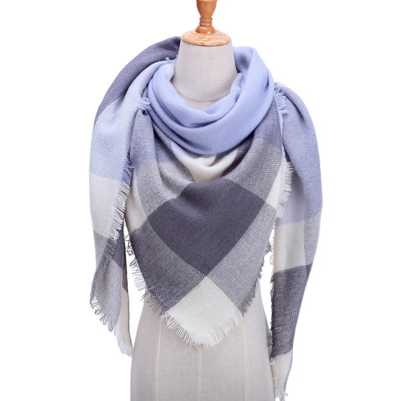 Women Winter   Scarf   Retro Plaid Cashmere Knitted Pashmina Shawls   Wraps   Lady Soft Triangle   Scarves   Bandana 2019 Fashion