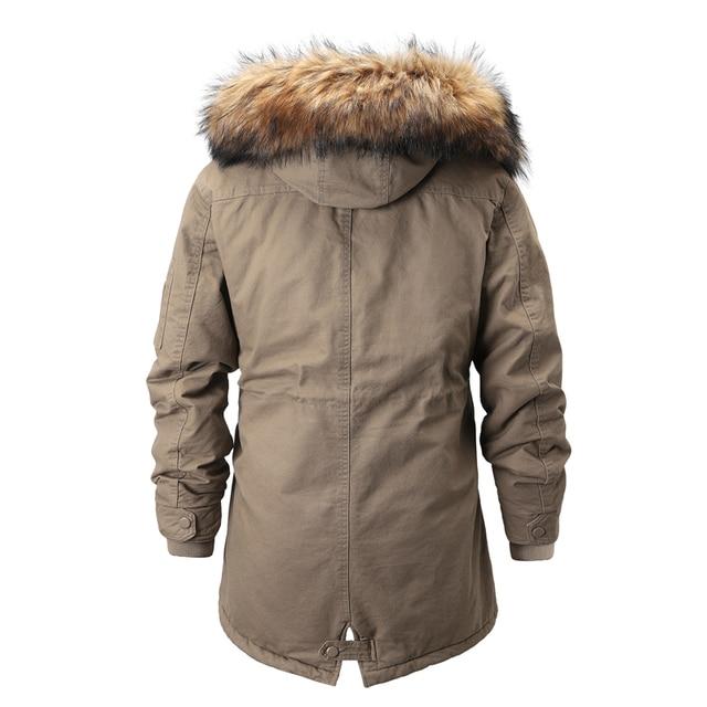 Куртка парка мужская со съёмным капюшоном тёплая подкладка мех на капюшоне 3