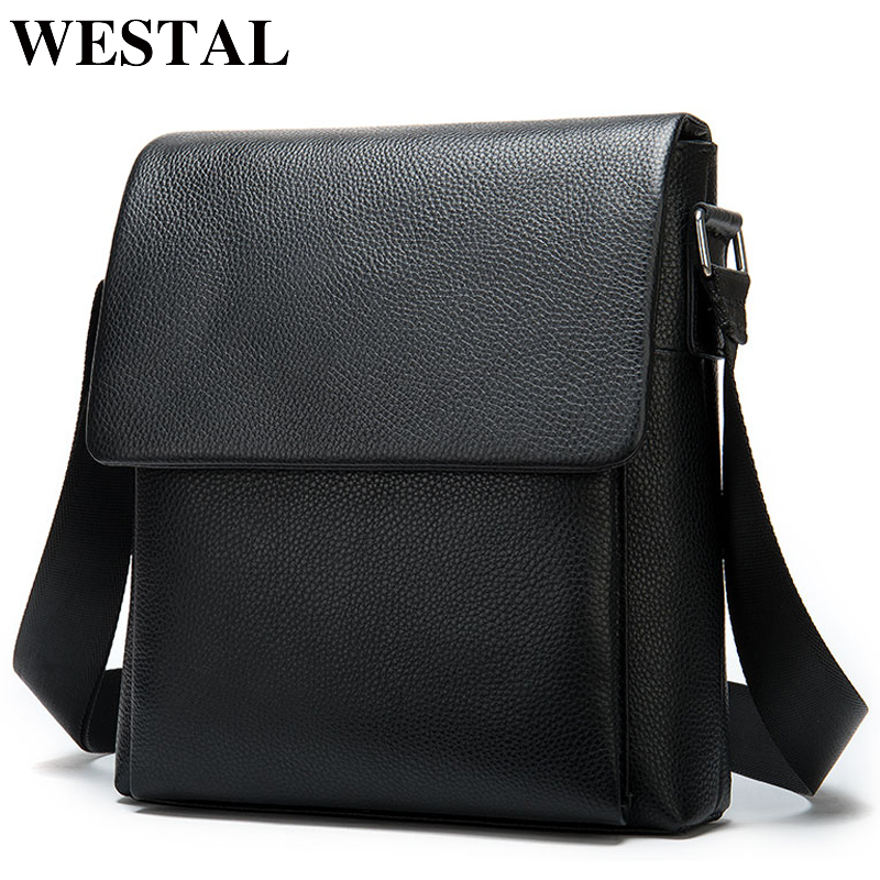 WESTAL Men's Shoulder Bag For Men Genuine Leather Messenger Bag Small Flap Male Black Crossbody Bags For Men Leather Bags 8830
