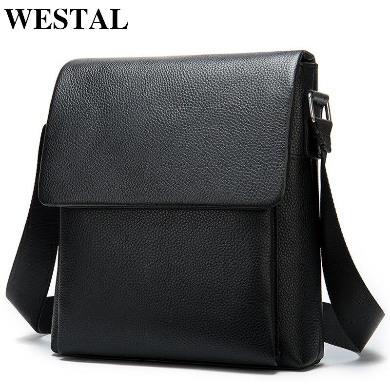 WESTAL men's shoulder bag for men genuine leather zip messenger bag big cover male black crossbody bags for men bags leather 883(China)
