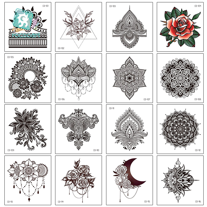 Rocooart Women Sexy Henna Flower Temporary Tattoo Stickers Black Waterproof Fake Jewelry Tatoos Lotus Body Art Tattoo Lace