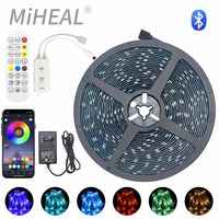 Tira de luces LED con controlador Bluetooth, cinta Flexible 5050 RGB, decoración, lámpara de luz de fondo, luz nocturna, cadena luminosa