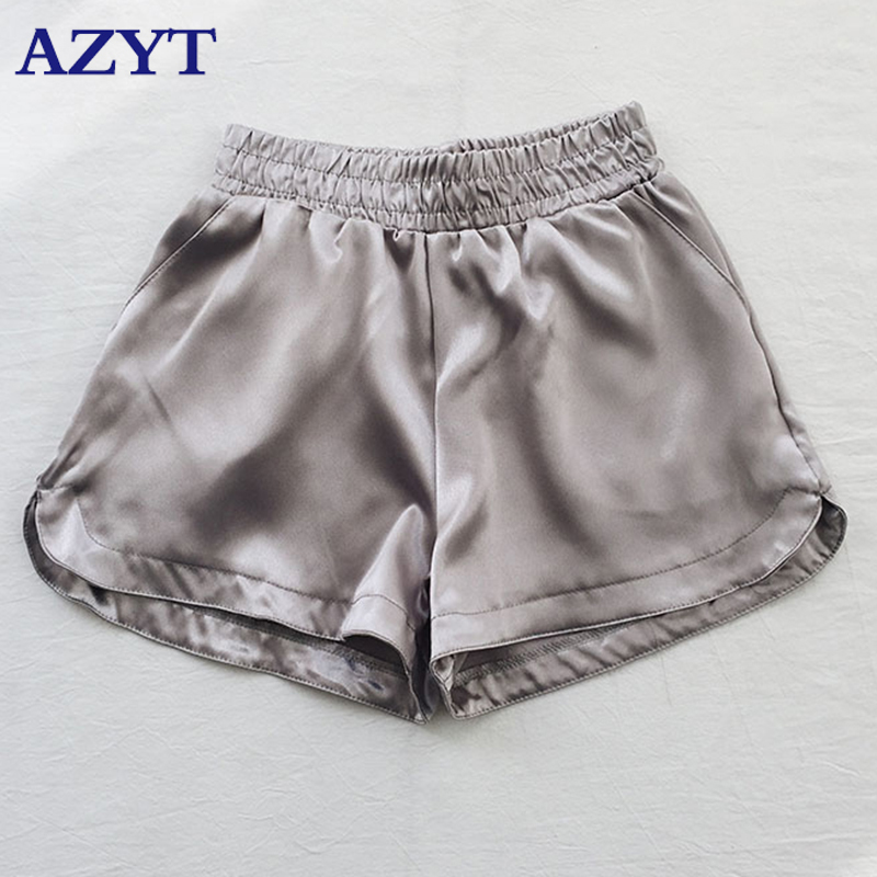 Women Fashion <font><b>Sexy</b></font> <font><b>Shorts</b></font> Summer Solid Satin Casual <font><b>Short</b></font> Feminino Elastic High Waist Black Silver Wide Leg Trouser Bottom image