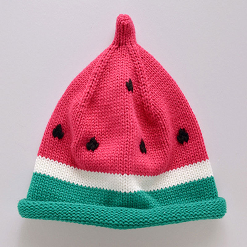 0 3year Baby hand knitted knitted caps children lovely watermelon hat autumn winter sweater hat thermal cap in Hats Caps from Mother Kids