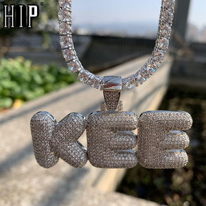 Hip Hop Iced Out Bubble Letters Custom Name Zircon Chain Pendants&Necklaces For Men Jewelry With Gold Cuban Tennis Chain