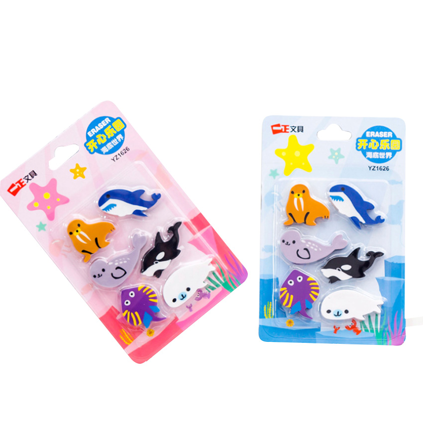 6pcs/set Happy Paradise Underwater World Sea Animals Sucking Card Eraser Set Cute Stationery Office Party Supply Gift Kids Gift