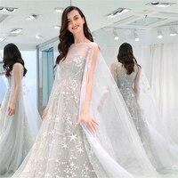 Autumn Women Word Collar Tight Waist High Gray Girl Star Mesh Chiffon Fairy Dress Lady Lace Elegant Party Dress