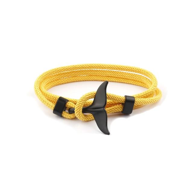Moda wieloryb ogon kotwica bransoletki mężczyźni kobiety urok Nautical Survival Rope Chain bransoletka Paracord męska dopasowana bransoletka metalowe haki SL057