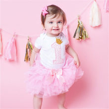 Kid Dresses For Girls Toddler Baby 1 Year Birthday Party Infant Dress Girl Baptism Clothes Tutu Princess 3 pcs Vestido Infantil(China)