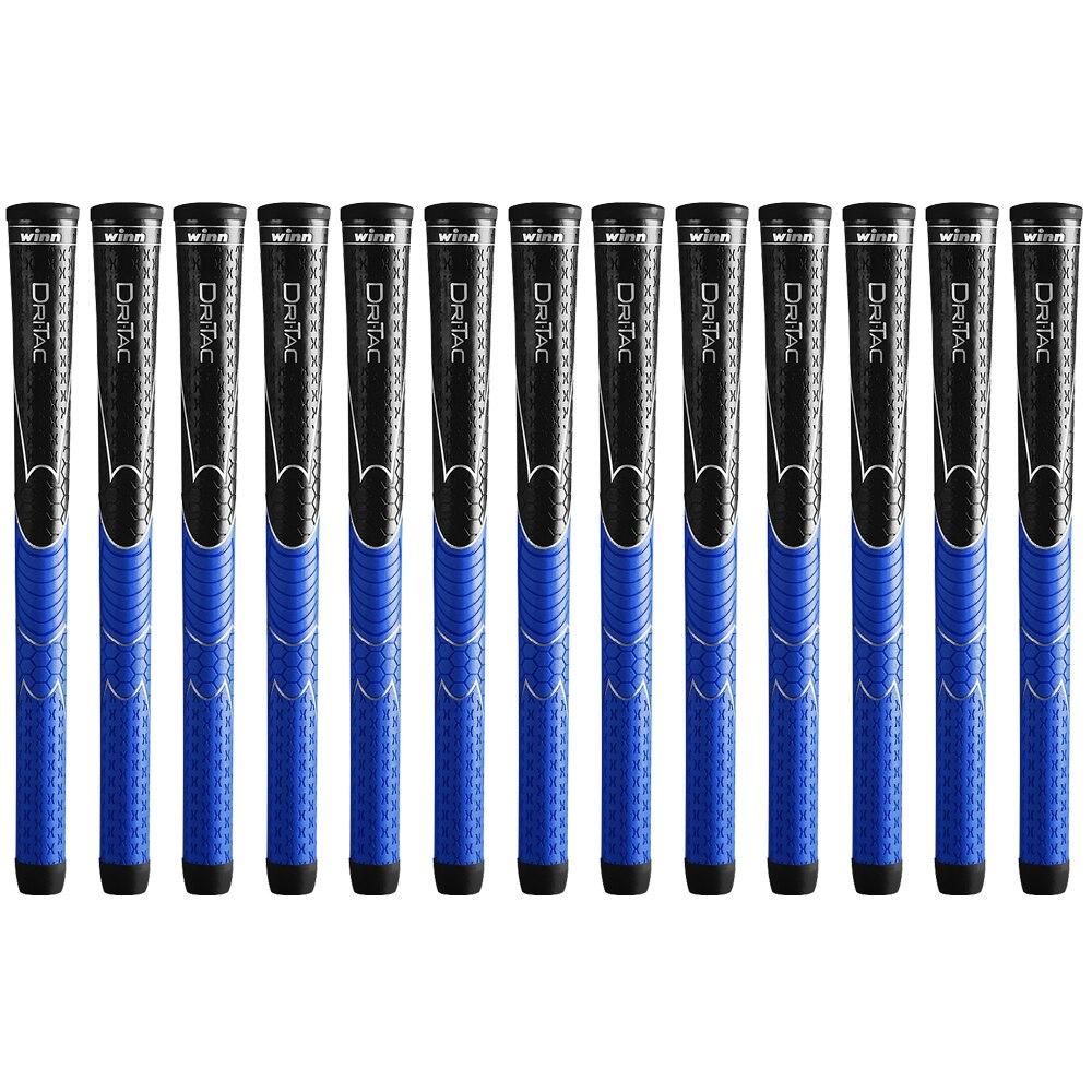SET OF 10 WINN DRITAC AVS MIDSIZE BLACK/BLUE GOLF GRIP PU SOFT Free Shipping