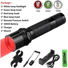 цена на USB Rechargeable LED Hunting Flashlight 1 Mode 400 Yard 3/4 Light color(Green/Red/White/Blue/Purple)   Flashlight For 18650
