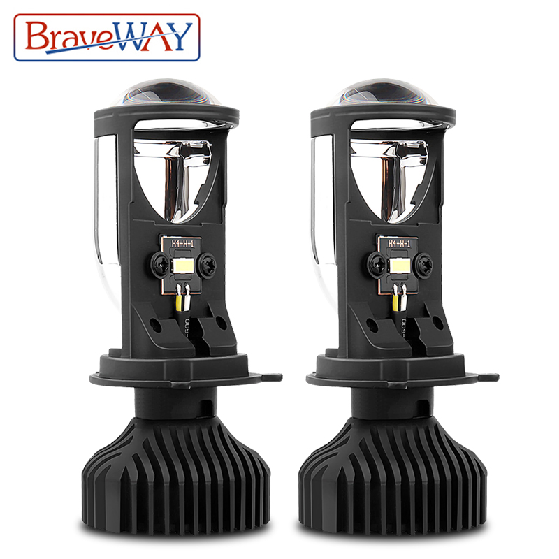 BraveWay H4 LED Hi-lo Beam Mini Projector Lens Headlight for Car Motorcycle H4 LED Bulb Clear Beam Pattern 12V 80W 5500K 12000LM image