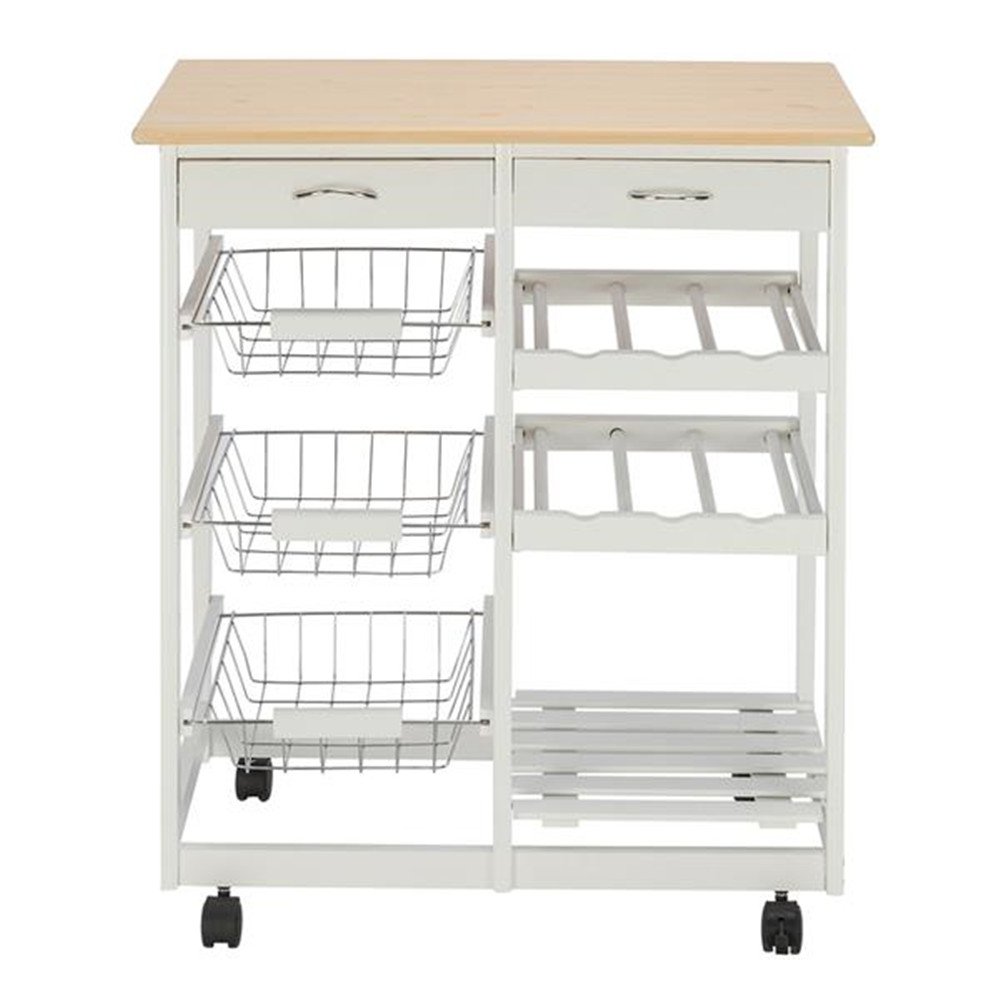FCH Moveable Kitchen Cart with Two Drawers & Two Wine Racks & Three Baskets White Kitchen Furniture Dinning Car with Wheels