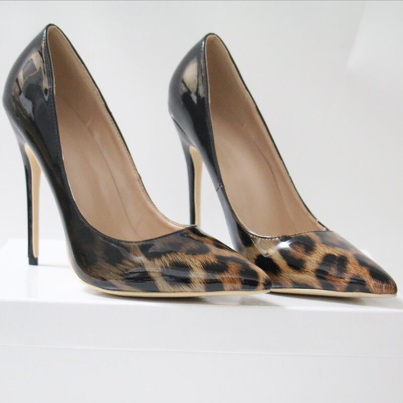 Shoes Woman Talon Leopard Femme Pumps Stilettos Scarpin High-Heels Gradient Patent No