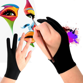black artist drawing glove both for right and left hand two finger anti fouling for any graphics drawing tablet black s m l size 2 Finger Anti-fouling Glove Black Artist Glove for Drawing Graffiti Sketch Oil Painting Writing Right and Left Hand Protection