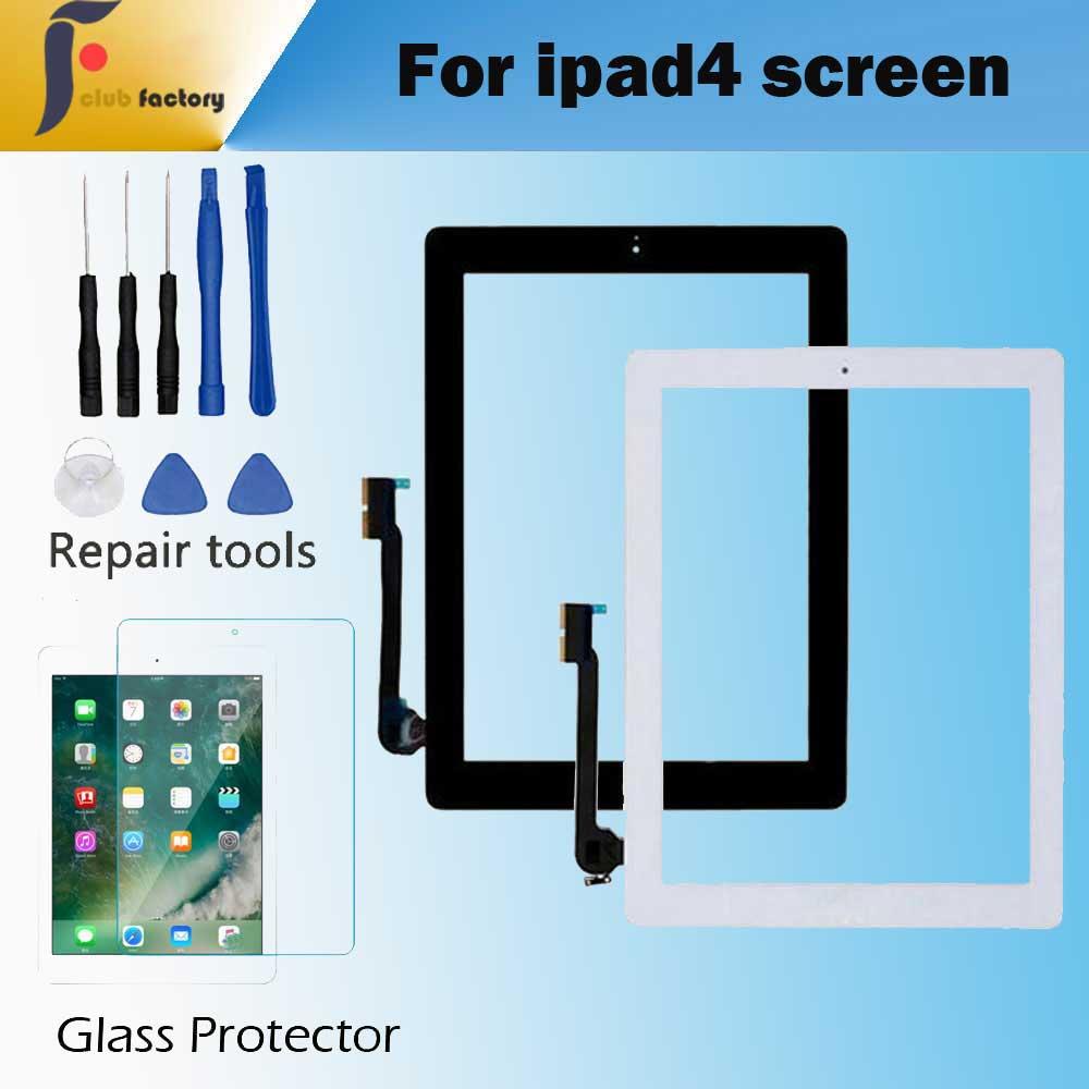 1 pièces pour Apple iPad 4 écran tactile numériseur et bouton d'accueil écran tactile avant en verre A1458 A1459 A1460 avec des outils