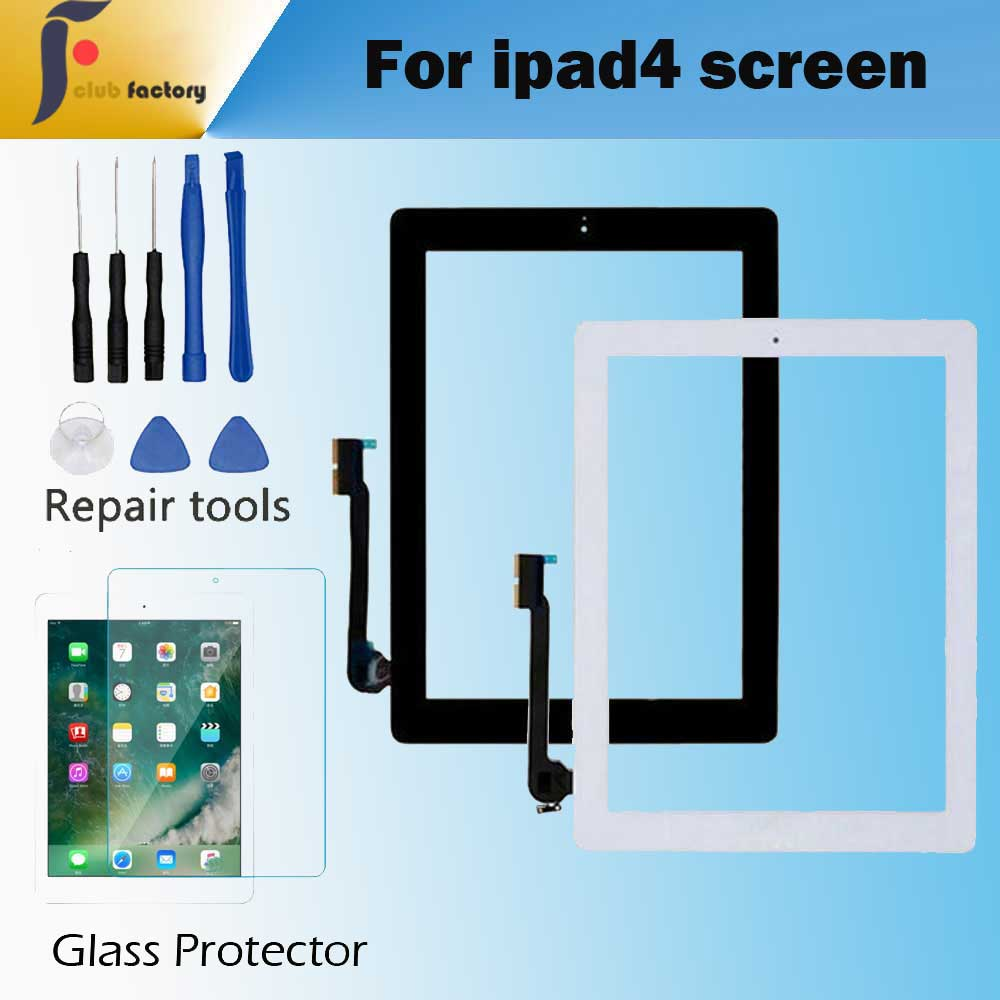 1PCS  For Apple IPad 4 Touch Screen Digitizer And Home Button Front Glass Display Touch Panel  A1458 A1459 A1460 With Tools