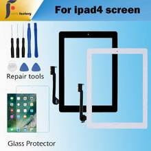 1PCS  For Apple iPad 4 Touch Screen Digitizer and Home Button Front Glass Display Touch Panel  A1458 A1459 A1460 with Tools 1pcs touch screen panel glass digitizer for korg m3 73 xpanded