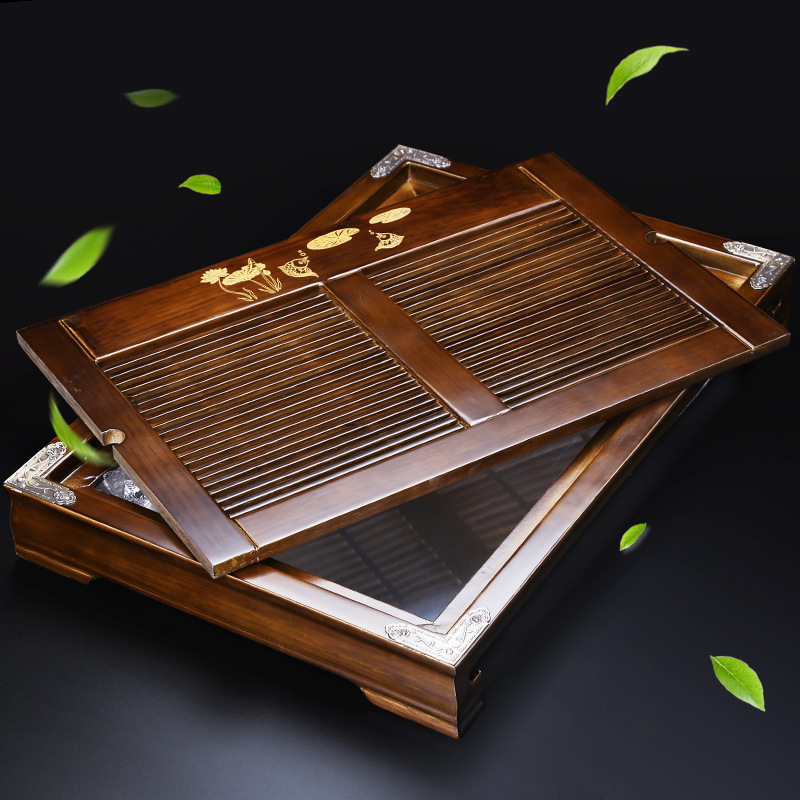 Tea Tray Solid Wood Household Ko Muk Drawer-type Japanese Style Kung Fu Tea Tray Solid Wood Whole Small Water Storage Type Tray