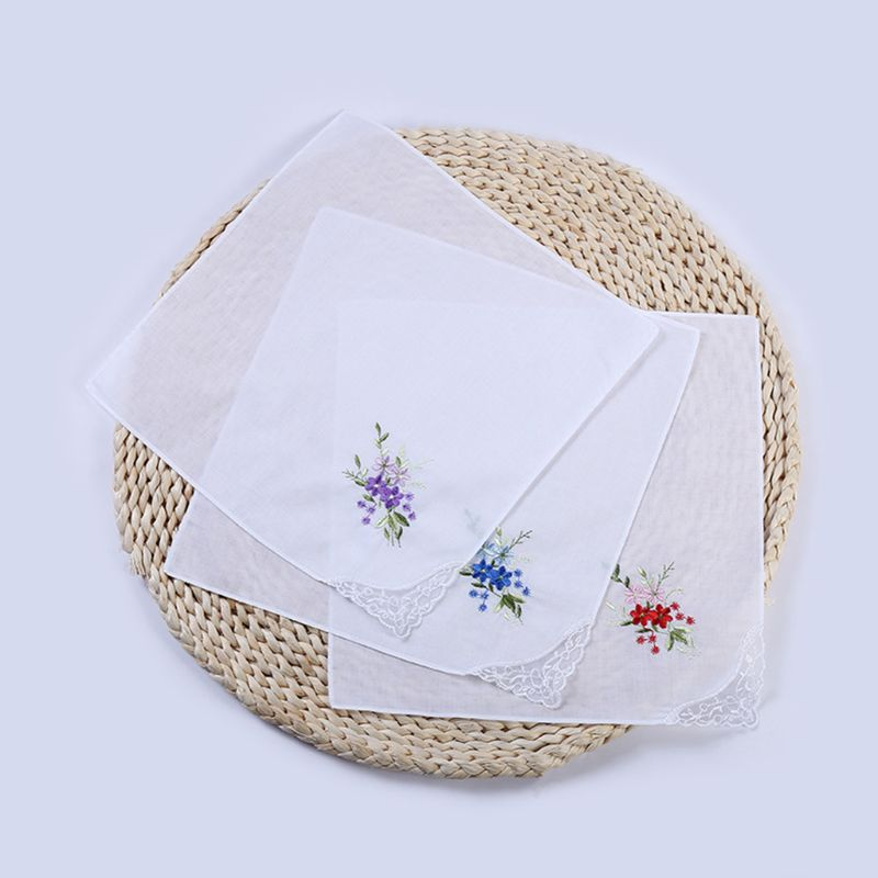 5Pcs Womens Cotton Handkerchiefs Floral Embroidered Butterfly Lace Pocket Hanky LX9E