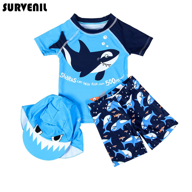 Children's Swimwear Baby Bathing Suit 3 Pieces Shark Dinosaur Cute Short Sleeve Swimming Suits for Boys Toddler Kids Beach Wear