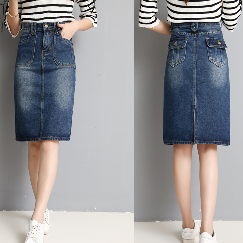 Large Size Denim Skirt Slim Korean Version Of Skirt Thin Slim Skirt Wild Color Pocket Midi Skirt
