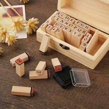 Make A Gift 36 PCS DIY Vintage Alphanumeric Stamp Seal Wooden Letter And Number Set Stamp With Wooden Box jwhcj 15pcs set cartoon mini teachers teaching comments encourage children stamp wooden rubber stamp gift box set crafts gift