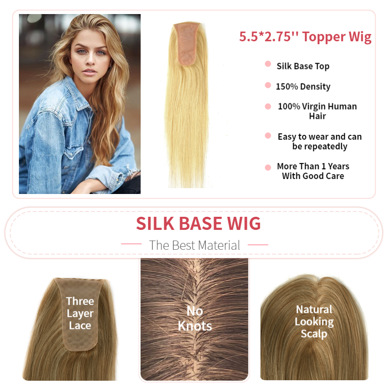 K.S WIGS 14'' 14X7cm Silk Base Topper Hairpieces 150% Density Fake Scalp Virgin Cuticle Remy Hair Toupee For Women 40g