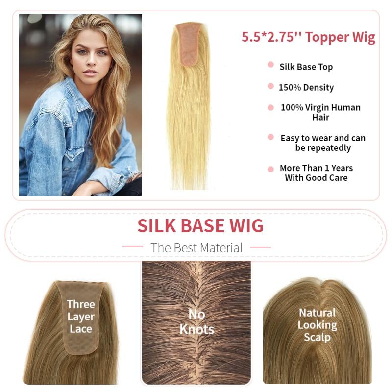 Pelucas K.S 14 ''14X7cm base de seda Topper postizos 150% densidad falso cuero cabelludo cutícula virgen Remy peluquín de pelo para mujeres 40g