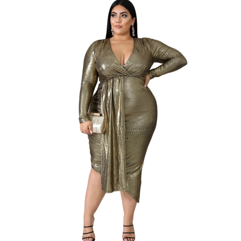 Spring Long Sleeve Dress Womens Plus Size Dress A-line Sexy V Neck Elegant Style Office Ladies Dresses Wholesale Drop Shipping