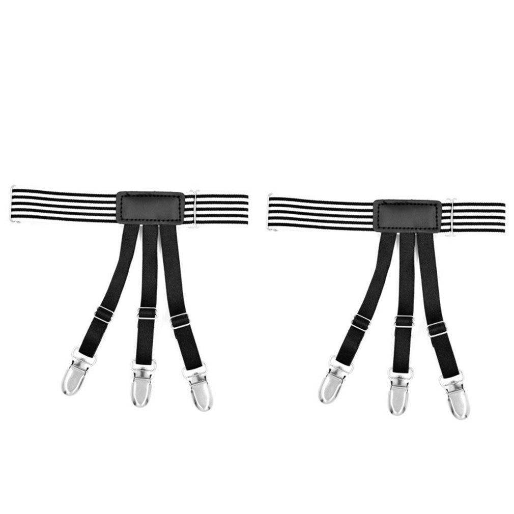 High Elastic Leg Girdle Belt Black And White Stripes Gentleman For Uniform Shirt Leggings Suspender Garters Anti-slip Clip