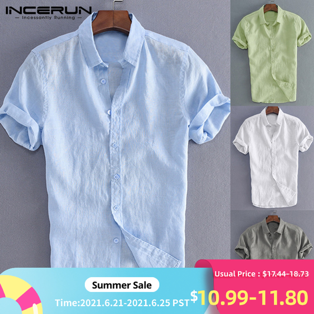 INCERUN Elegant S-5XL Male Tee Tops Casual Shirts Men Social Shirts Dress Button Turn Down Collar Slim Fit Men Clothes Camisa 1