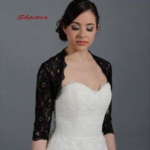 Black Lace Long Sleeve Wedding Wape Jacket Bridal Wrap Bolero Shrugs for Women(China)