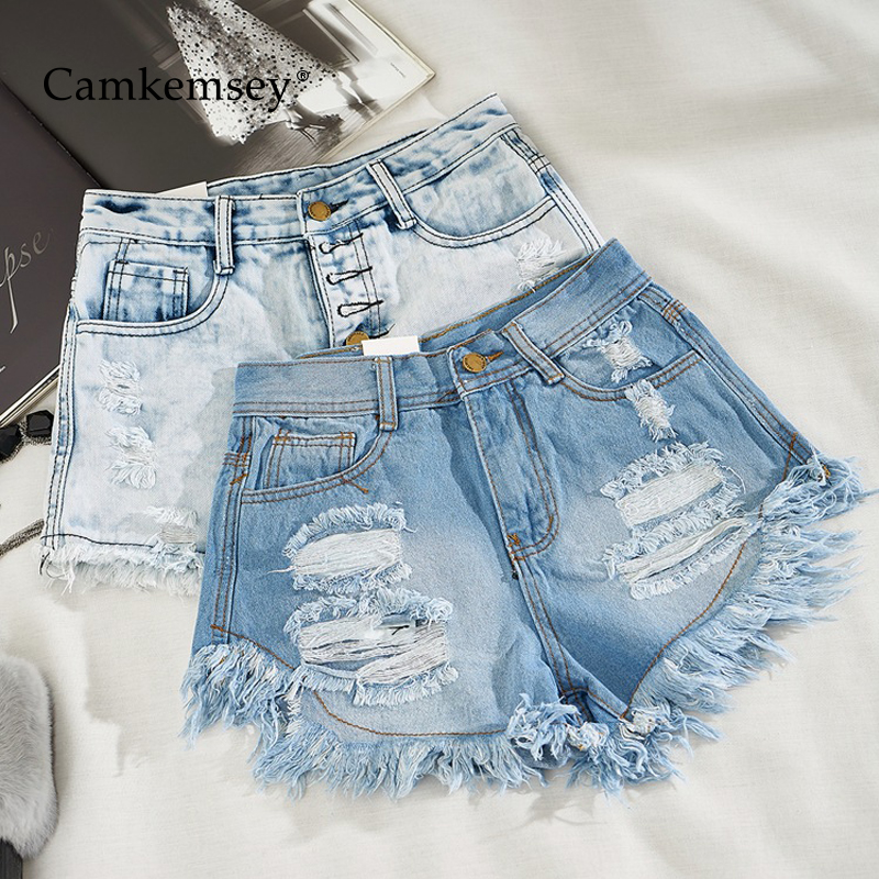 CamKemsey Summer High Waist Denim Shorts Women Korean Solid Cuffed Tassels Ripped Holes Blue Jeans Shorts Sexy Club Hot Shorts