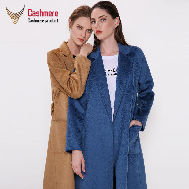 2019 New autumn winter new water ripple double-faced cashmere coat ladies thickening plus long lace woolen woolen coat Plus Size