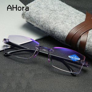 Ahora Anti Blue Ray Reading Glasses Men Women Rimless Cutting Presbyopia Eyewear for Ladies Blue Light Glasses +1.0 1.5 2.0 2.5