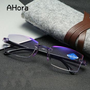 Ahora okulary blokujące niebieskie światło okulary do czytania mężczyźni kobiety Rimless cięcia okulary starczowzroczne dla pań okulary do niebieskiego światła + 1 0 1 5 2 0 2 5 tanie i dobre opinie WOMEN Unisex Przezroczysty CN (pochodzenie) Lustro 1068 Poliwęglan 5 4cm Z tworzywa sztucznego