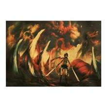 Anime de sangue quente atacando gigante papel kraft poster menino quarto casa bar café pintura decorativa 50.5*35cm