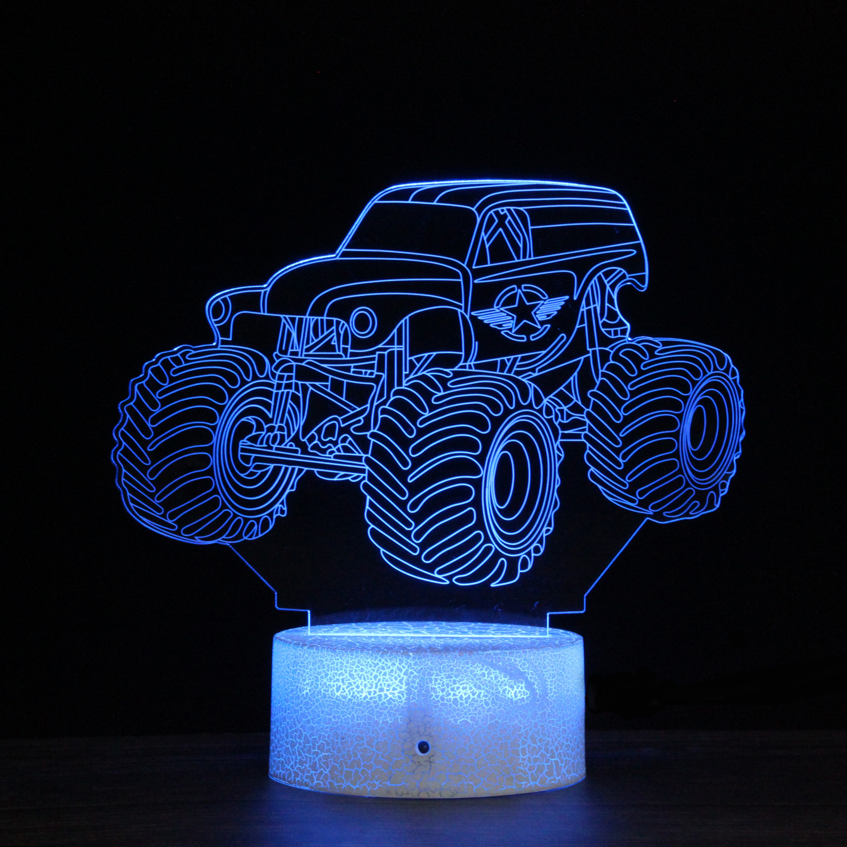 Creative 3D Car Night Light 7 Colors LED Lamp Decoration Light Table Desk Lamp Touch Switch Rainbow Color Change