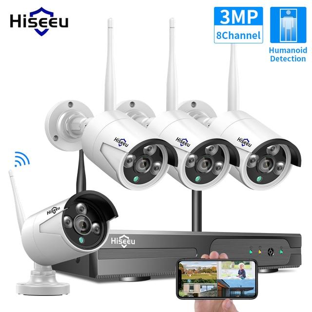 Hiseeu 8CH اللاسلكية طقم NVR P2P 1536P الصوت أمن الوطن مقاوم للماء شارع IP كاميرا CCTV واي فاي نظام مراقبة بالفيديو عدة