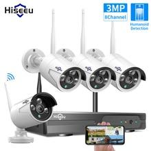 Hiseeu 8CH Wireless NVR Kit P2P 1536P Audio Home Security Waterproof Street IP Camera CCTV WIFI video surveillance System Kit