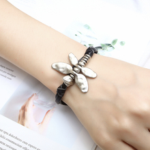 New Fashion dragonfly Leather Bracelet Women Zinc Alloy Black Beaded Multilayer Jewelry Handmade