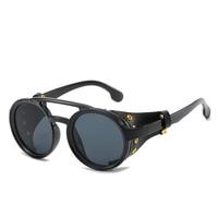 Nouveau Steampunk lunettes de soleil marque Design rond lunettes de soleil hommes femmes Vintage Punk lunettes de soleil UV400 nuances lunettes Oculos de sol
