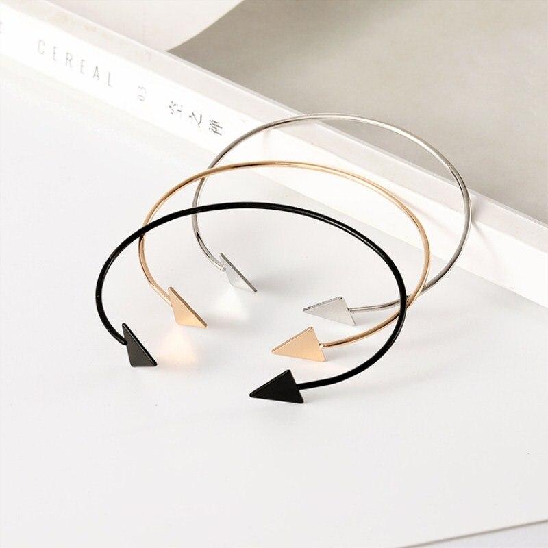Drop-Shipping-Arrow-Open-Bracelets-Gold-Silver-Black-Triangle-Geometric-Bangle-Bracelets-for-Women-Simple-Korean