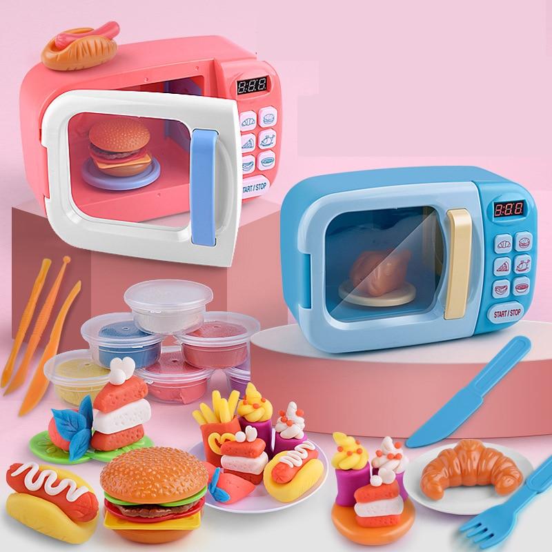 Kid DIY Kitchen Set Toy Rotating Oven Burger Hot Dog Food Plastic Pretend Play Kitchen Toys Set Safe Cute Children Girl Toy Gift