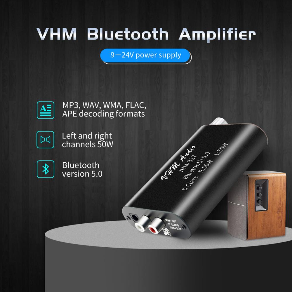 VHM337 50WX2 Mini Bluetooth 5.0 Wireless Audio Power Digital Amplifier Board Stereo Amp DC 9V-24V