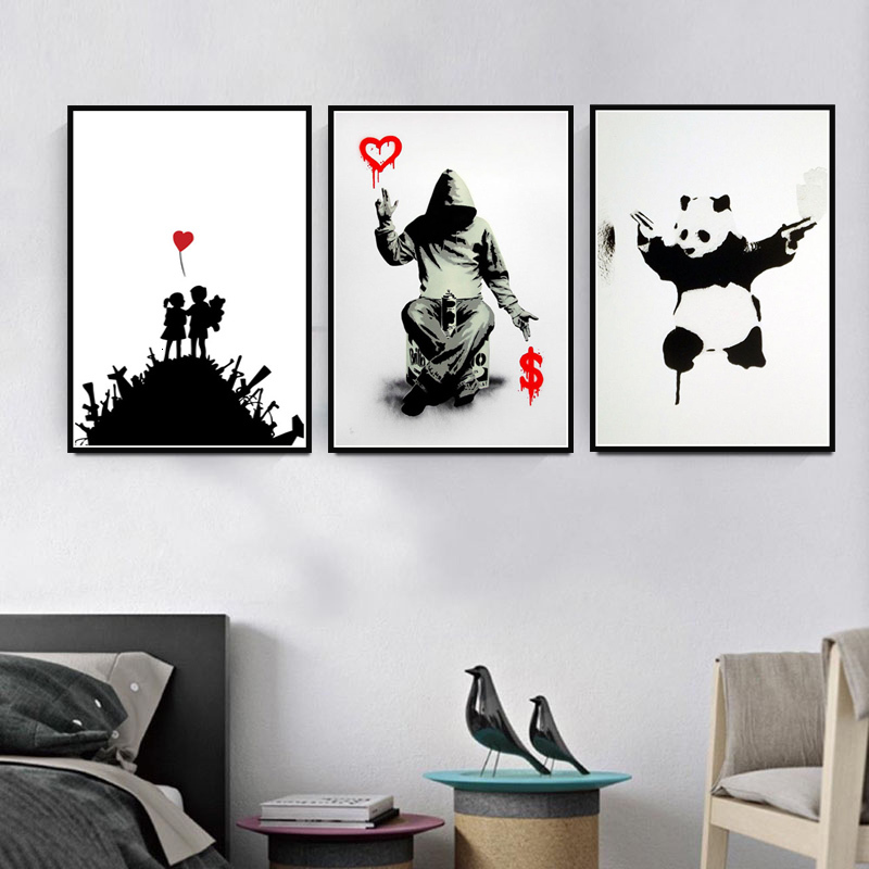 Graffiti Modern Art Street Banksy Painting Animal Poster And Prints Wall Art Picture Vintage Poster Decorative Home Decor Quadro