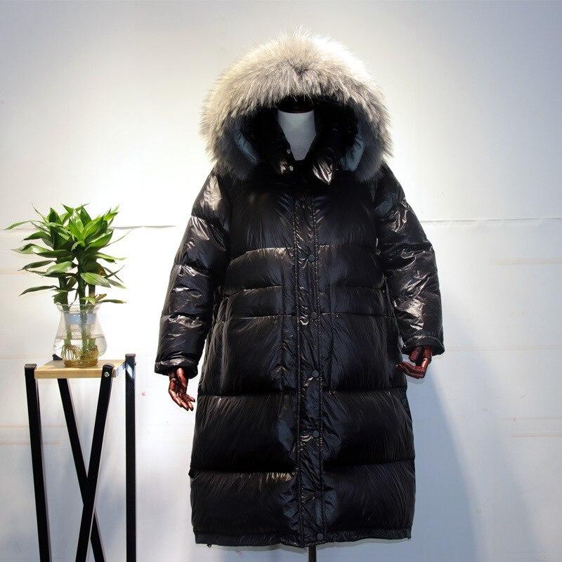 2020 Winter Women's Down Jacket + Raccoon Fur Hooded Korean Warm Long Duck Down Coat Female Jacket Ladies Overcoat LW1238