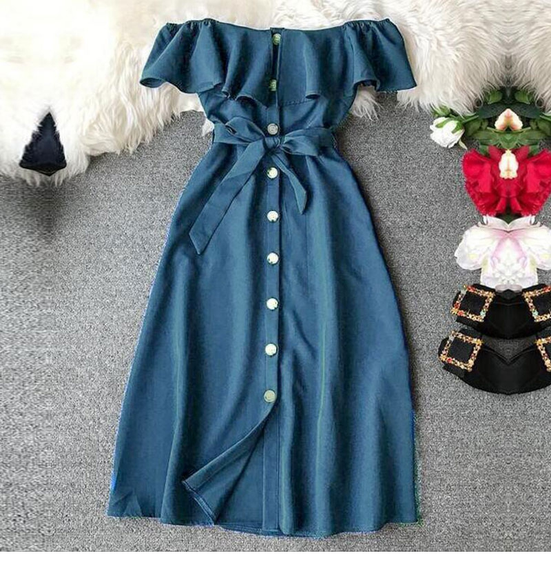 BREASTED RUFFLES SOLID KNEE-LENGTH DRESS