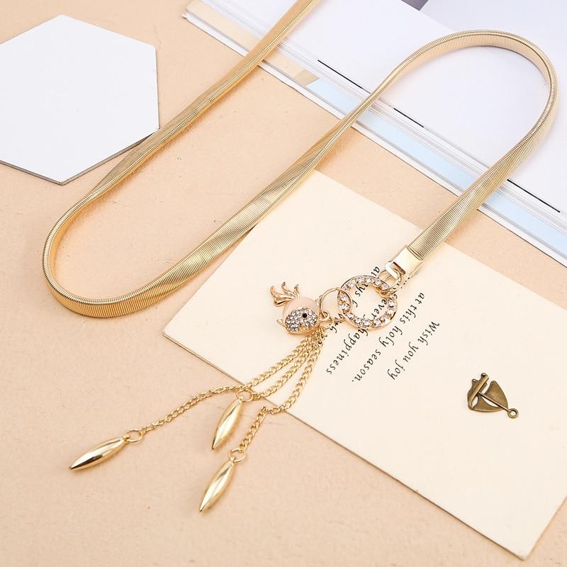 Ladies Waist Chain with Dress Fashion Small Chain Pendant Belt